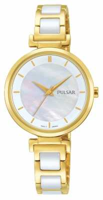 Pulsar Ladies Gold Plated/ceramic Dress Watch PH8272X1