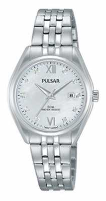 Pulsar Ladies Stainless Steel Crystal Set Pearl Dial PH7453X1