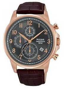 Pulsar Gents Brown Leather Chronograph Watch PM3083X1