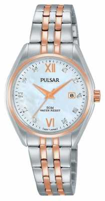 Pulsar Ladies Two Tone Pearl Dial Watch PH7458X1