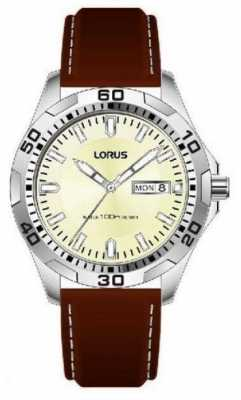 Lorus Gents Stainless Steel Day/date Brown Watch RXN47DX9