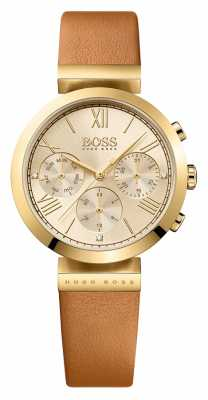 Hugo Boss Womens Classic Sport Brown Leather Strap Gold Dial 1502396