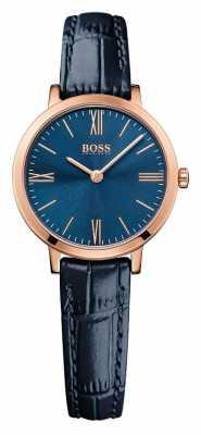 Hugo Boss Womens Jillian Blue Leather Strap Blue Dial 1502392