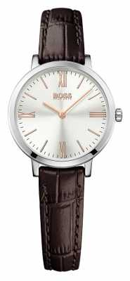 Hugo Boss Womens Jillian Brown Leather Strap Silver Dial 1502393