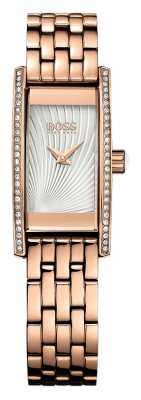 Hugo Boss Womens Cocktail Rose Gold Plated Silver Dial 1502386