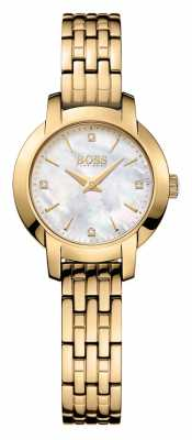 Hugo Boss Womens Success Gold Plated Mother Of Pearl Dial 1502381