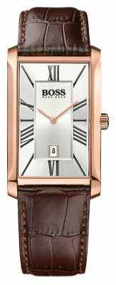 Hugo Boss Mens Admiral Brown Leather Strap Silver Dial 1513436