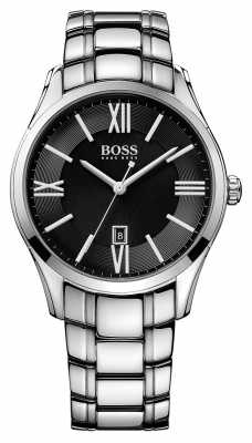 Hugo Boss Mens Ambassador Stainless Steel Bracelet Black Dial 1513025