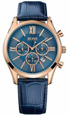 Hugo Boss Mens Ambassador Blue Leather Strap Blue Dial 1513320