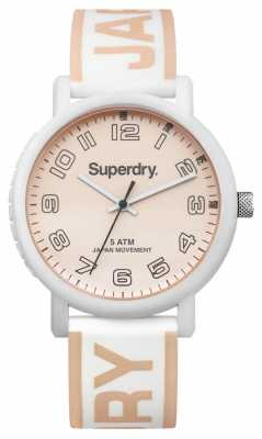 Superdry Womans Campus White And Rose Gold Silicone SYL196WRG