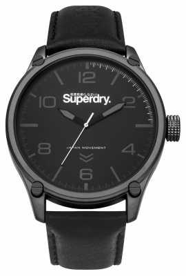 Superdry Mens Military Black Leather SYG200BB