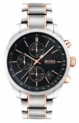 Hugo Boss Mens Grand Prix Stainless Steel Bracelet Black Dial 1513473
