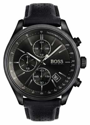 Hugo Boss Mens Grand Prix Black Leather Strap Black Dial