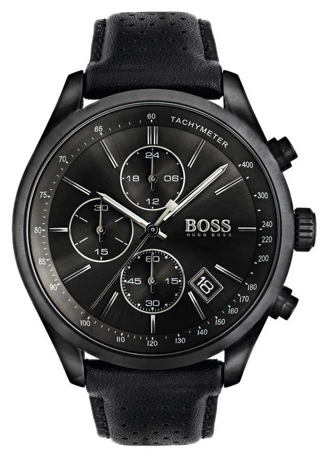 hugo boss black mens grand prix black leather strap black dial. Black Bedroom Furniture Sets. Home Design Ideas