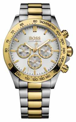 Hugo Boss Mens Ikon Two Tone Plated Bracelet Silver Dial 1512960