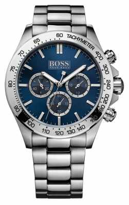 Hugo Boss Mens Ikon Stainless Steel Bracelet Blue Dial 1512963
