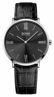 Hugo Boss Mens Jackson Black Leather Strap Black Dial 1513369