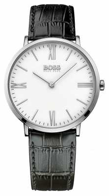 Hugo Boss Mens Jackson Black Leather Strap White Dial 1513370
