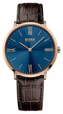 Hugo Boss Mens Jackson Brown Leather Strap Blue Dial 1513458