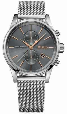 Hugo Boss Mens Jet Stainless Steel Mesh Bracelet Grey Dial 1513440