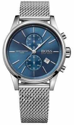 Hugo Boss Mens Jet Stainless Steel Mesh Bracelet Blue Dial 1513441