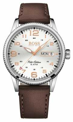 Hugo Boss Mens Pilot Vintage Brown Leather Strap Silver Dial 1513333