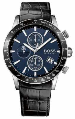 Hugo Boss Mens Rafale Black Leather Strap Blue Dial 1513391