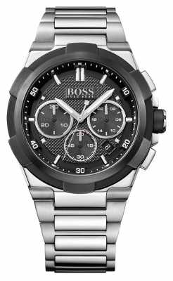 Hugo Boss Mens Supernova Stainless Steel Bracelet Black Dial 1513359