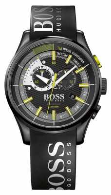 Hugo Boss Mens Yachting Timer II Black Rubber Strap Black Dial 1513337