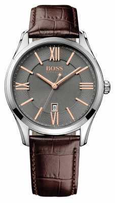 Hugo Boss Gents Ambassador Brown Leather Watch 1513041
