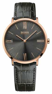 Hugo Boss Mens Jackson Grey Leather Watch 1513372