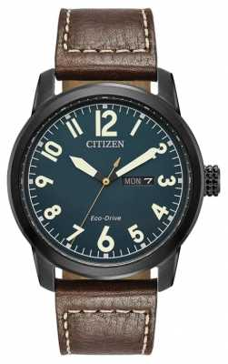 Citizen Mens Eco Drive Brown Leather Chandler BM8478-01L
