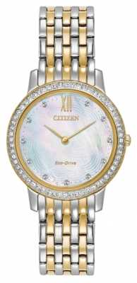 Citizen Womans Eco-Drive Silhouette Crystal Two Tone Gold EX1484-57D