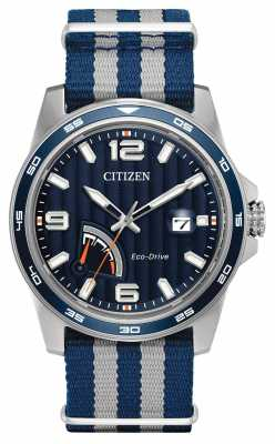 Citizen Mens Eco-Drive Power Reserve Blue fabric watch AW7038-04L