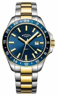 Rotary Mens Havana GMT Two Tone Blue GB05082/05