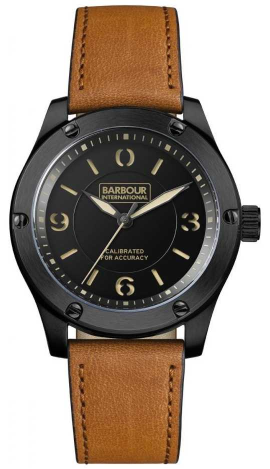 Barbour mens hartford black tan watch bb063bktn for Black tan watch