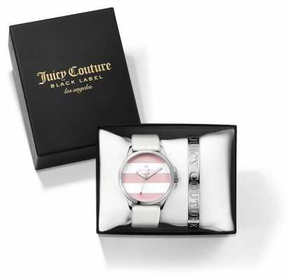 Juicy Couture Womans Fergi White Silver Bangle And Watch Gift Set 1950009
