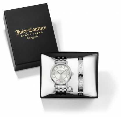 Juicy Couture Womans Socialite Silver Bangle And Watch Gift Set 1950010
