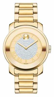 Movado bold Midsize luxe Yellow Gold Ion-plated K1 Crystal set 3600255
