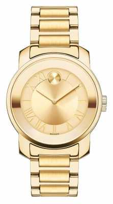 Movado Mid Size BOLD PVD Plated Gold Dial Womens 3600323