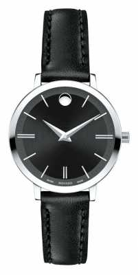 Movado Women's Ultra Slim black leather strap 0607094