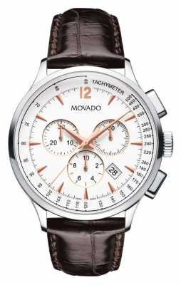 Movado Men's Movado Circa Chronograph Stainless Steel Case White 0606576