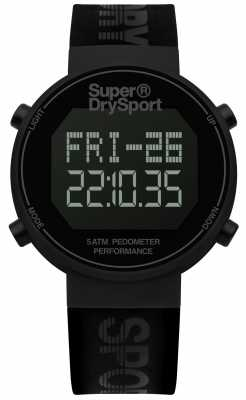 Superdry Unisex Digi Pedometer Black Silicone Strap SYG203BB