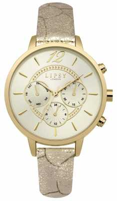 Lipsy Womans Gold PU Strap Champagne Chrono LP505