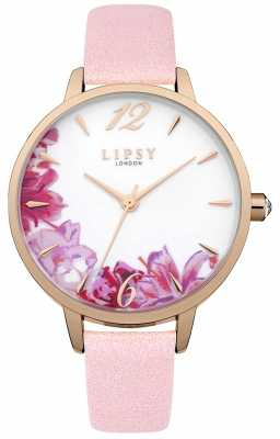 Lipsy Womans Floral Printed Dial Pink Strap LP508