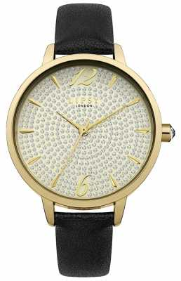 Lipsy Womans Black PU Strap Champagne Dial LP496