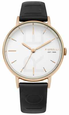 Fiorelli Womans Black Embossed Strap White Dial FO036BRG