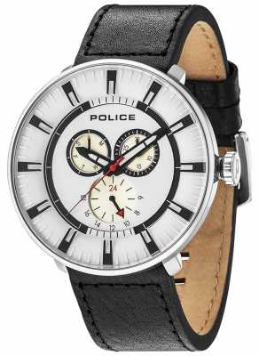 Police Mens League Multi-function Black Leather White Dial 15040XCY/01