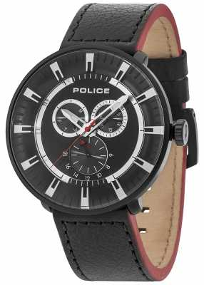 Police Mens League Multi-function Black Leather Black Dial 15040XCYB/02