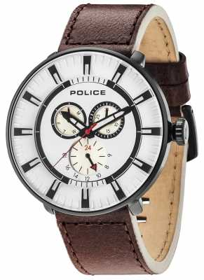 Police Mens League Multi-function Brown Leather White Dial 15040XCYB/01